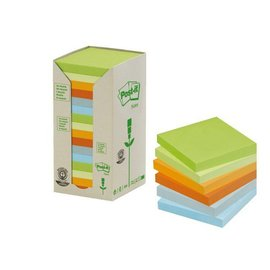 3M Post-it Bloc-mémos Post-it 654-1RPT 76x76mm 16 pcs recyclé assorti