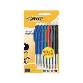 Bic Stylo Bille Bic M10 assorti Medium blister 10+4 gratuits