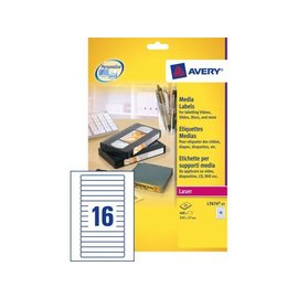 Avery Etiket Avery l7674-25 145x17mm video rugzijde 400stuks
