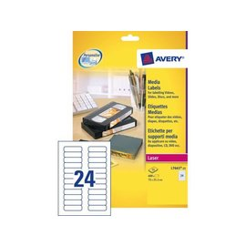 Avery Etiket Avery l7665-25 72x21.2mm voor datatape's 600stuks