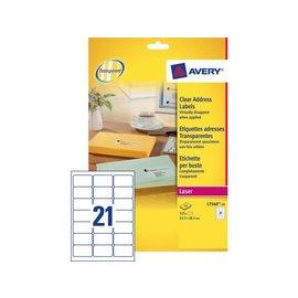 Avery Etiket Avery l7560-25 63.5x38.1mm transparant 525stuks