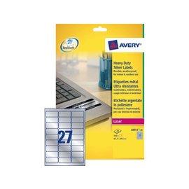 Avery Etiket Avery l6011-20 63.5x29.6mm zilver 540stuk