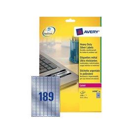 Avery Etiquette Avery L6008-20 25.4x10mm argent 3780pcs