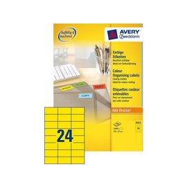 Zweckform Etiket Avery zweckform 3451 70x37mm geel 2400stuks