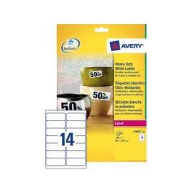Avery Etiket Avery l7063-20 99.1x38.1mm polyester wit 280stuks