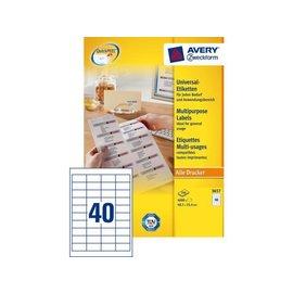 Zweckform Etiket Avery zweckform 3657 48.5x25.4mm wit 4000stuks