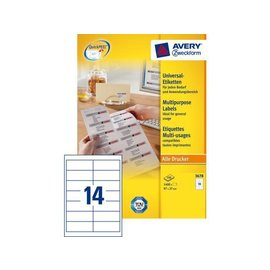 Zweckform Etiket Avery zweckform 3678 97x37mm wit 1400stuks