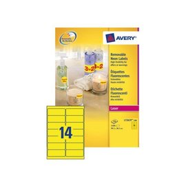 Avery Etiquette Avery L7263Y-100 99,1x38,1mm jaune néon 1400 ps