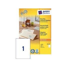 Zweckform Etiquette Avery LR3478 210x297mm A4 recyclé blanc 100 pcs