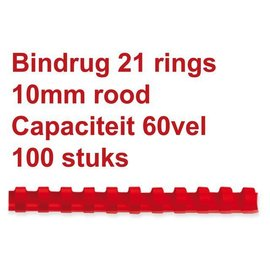 GBC Bindrug GBC 10mm 21rings A4 rood 100stuks