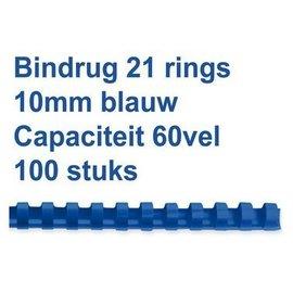 GBC Bindrug GBC 10mm 21rings A4 blauw 100stuks