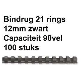 GBC Bindrug GBC 12mm 21rings A4 zwart 100stuks