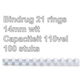 GBC Reliure GBC 14mm 21 anneaux A4 blanc 100 pièces