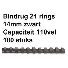 GBC Reliure GBC 14mm 21 anneaux A4 noir 100 pièces