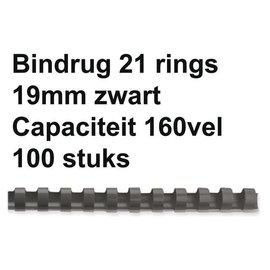 GBC Reliure GBC 19mm 21 anneaux A4 noir 100 pièces