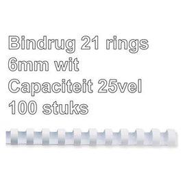 GBC Bindrug GBC 6mm 21rings A4 wit 100stuks
