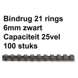 GBC Bindrug GBC 6mm 21rings A4 zwart 100stuks