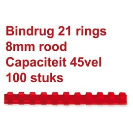 GBC Bindrug GBC 8mm 21rings A4 rood 100stuks