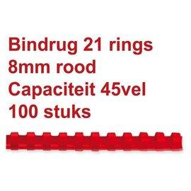 GBC Reliure GBC 8mm 21 anneaux A4 rouge 100 pièces