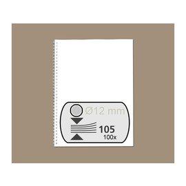 Fellowes Peigne métallique Fellowes 12mm 34 anneaux A4 argent 100pcs