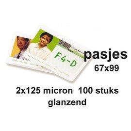 GBC Lamineerhoes GBC badge card 67x99mm 2x125micron 100stuks