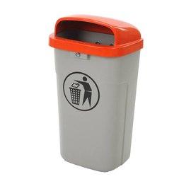 Vepa Bins Poubelle plastique d'exterieur ininflammable VB500200 gris-orange