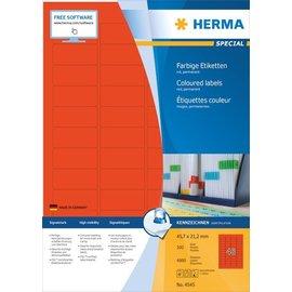 Herma Herma 4545 Étiquettes couleur, A4, 45,7 x 21,2 mm, rouges, adhérence permanente