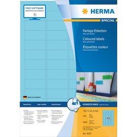Herma Herma 4547 Étiquettes couleur, A4, 45,7 x 21,2 mm, bleues, adhérence permanente