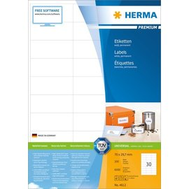 Herma Herma 4612 Étiquettes PREMIUM, A4, 70 x 29,7 mm, blanches, adhérence permanente