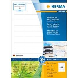 Herma Herma 10820 Etiketten van gerecycled papier, A4, 38,1 x 21,2 mm, wit, permanent hechtend