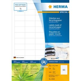 Herma Herma 10820 Étiquettes en papier recyclable, A4,  38,1 x 21,2 mm, blanches, adhérence permanente