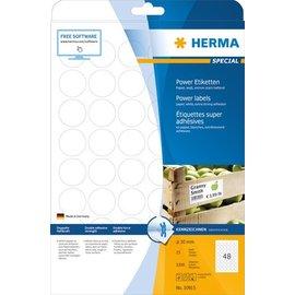 Herma Herma 10915 Étiquettes super adhésives, A4,  Ø 30 mm, rondes, blanches, en papier