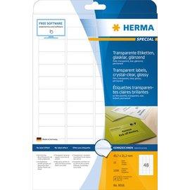 Herma Étiquettes en plastique transparentes, cristallines, A4, 45,7 x 21,2 mm, résistantes aux intempéries