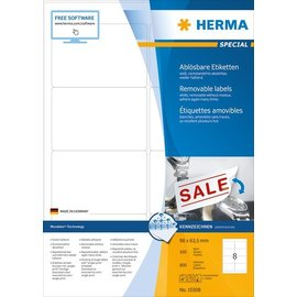 Herma Herma 10308 etiketten wit movables/verwijd. 96x63,5 A4 800 st.