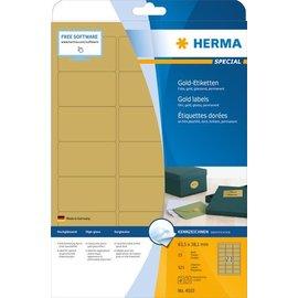 Herma Étiquettes en plastique couleur or, A4, 63,5 x 38,1 mm, brillantes, résistantes aux intempéries, adh