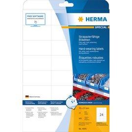 Herma Étiquettes en plastique résistantes aux intempéries, A4, 70 x 37 mm, blanches, ultra-adhérentes