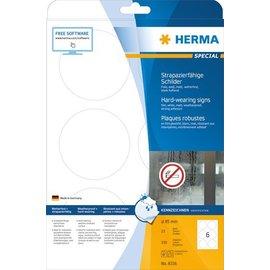 Herma Herma 8336 plaatjes slijtvast A4 Ø 85 mm rond wit vast hechtend folie mat weerbestendig 150 st.