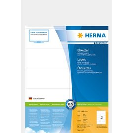 Herma Étiquettes PREMIUM, A4, 105 x 48 mm, blanches, adhérence permanente