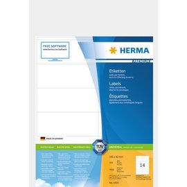 Herma Étiquettes PREMIUM, A4, 105 x 42 mm, blanches, adhérence permanente