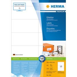 Herma Étiquettes PREMIUM, A4, 105 x 50,8 mm, blanches, adhérence permanente