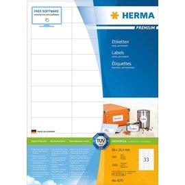 Herma Étiquettes PREMIUM, A4, 66 x 25,4 mm, blanches, adhérence permanente