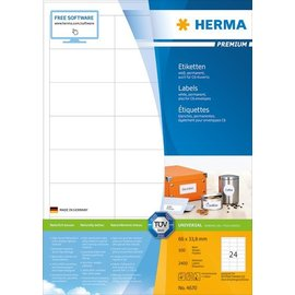 Herma Étiquettes PREMIUM, A4, 66 x 33,8 mm, blanches, adhérence permanente
