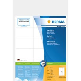 Herma Étiquettes PREMIUM, A4, 70 x 42 mm, blanches, adhérence permanente