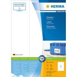 Herma Étiquettes PREMIUM, A4, 70 x 297 mm, blanches, adhérence permanente