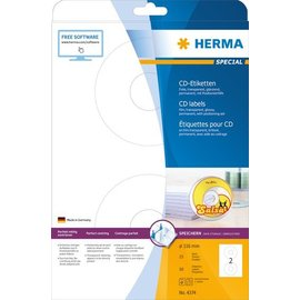 Herma Herma 4374 cd-etiketten folie transp. Ø 116 A4 lasercopy 50 st.