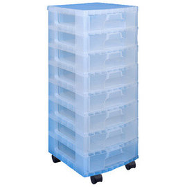 Really Useful Box Really Useful Box Tour de rangement, 8 tiroirs x 9,5  L transparents