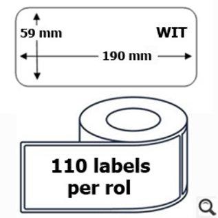 Budget Office Etiket Dymo 99019 label 59 x 190 mm compatible wit  110 stuks