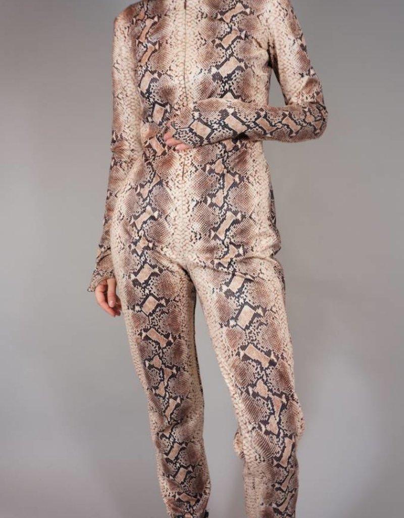 Snake Print Jumpsuit Hooded