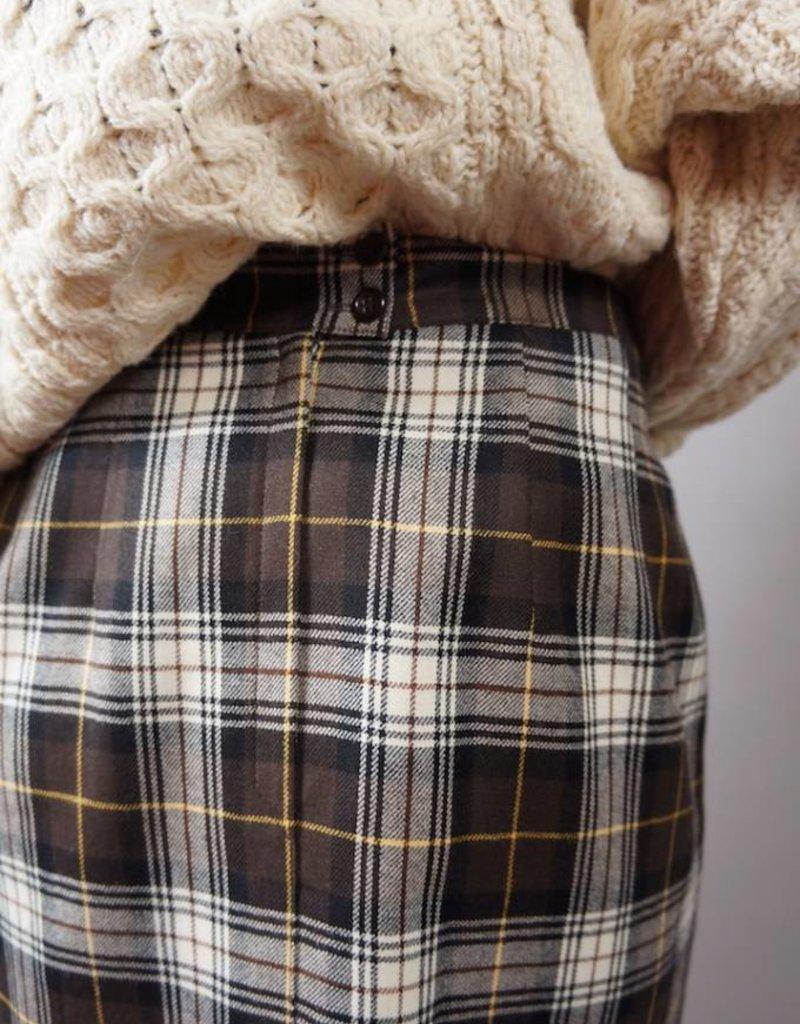 Tartan Wool Pencil Skirt