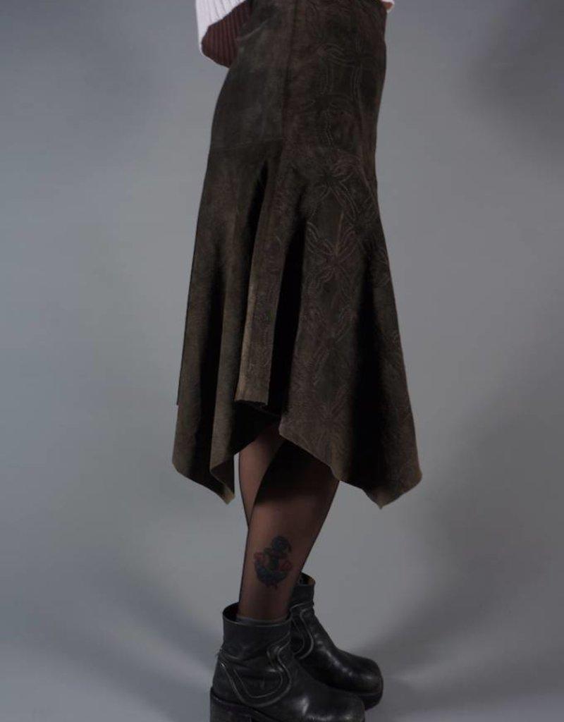 70s Suede Midi Layered Skirt